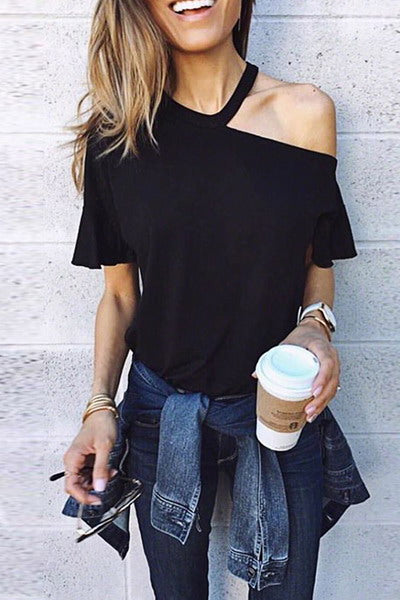 butterfly-sleeve-one-shoulder-cut-out-t-shirt-stylish-plain-top