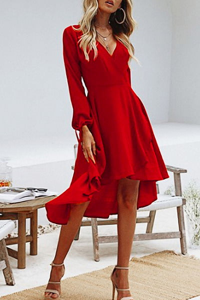 tie-puff-sleeve-v-neck-calf-length-scalloped-hem-midi-wrap-dress