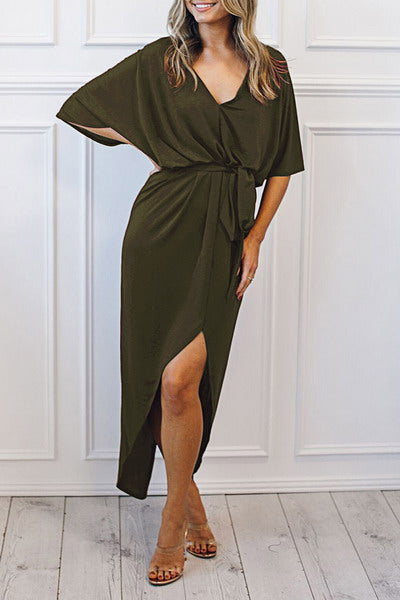 Belted Midi Length Dress
