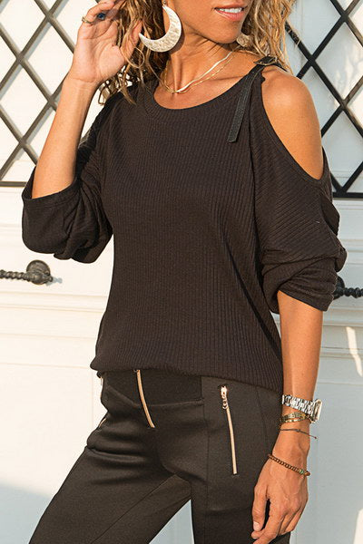 buckle-shoulder-round-neck-cool-ribbed-cold-shoulder-t-shirt-top