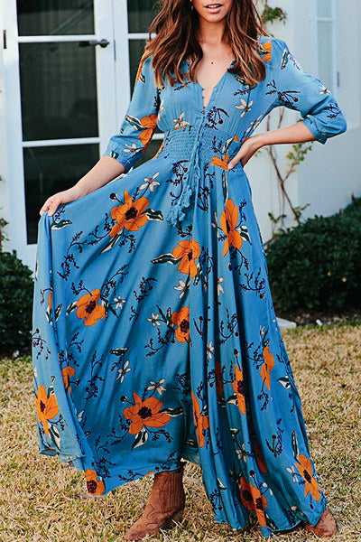 Printed Maxi Button Dress