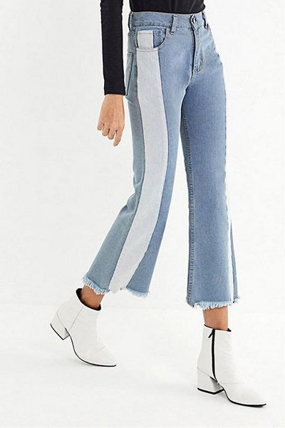 Blue & White Fray Jeans