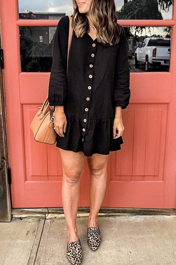 Black Drop Waist Dress