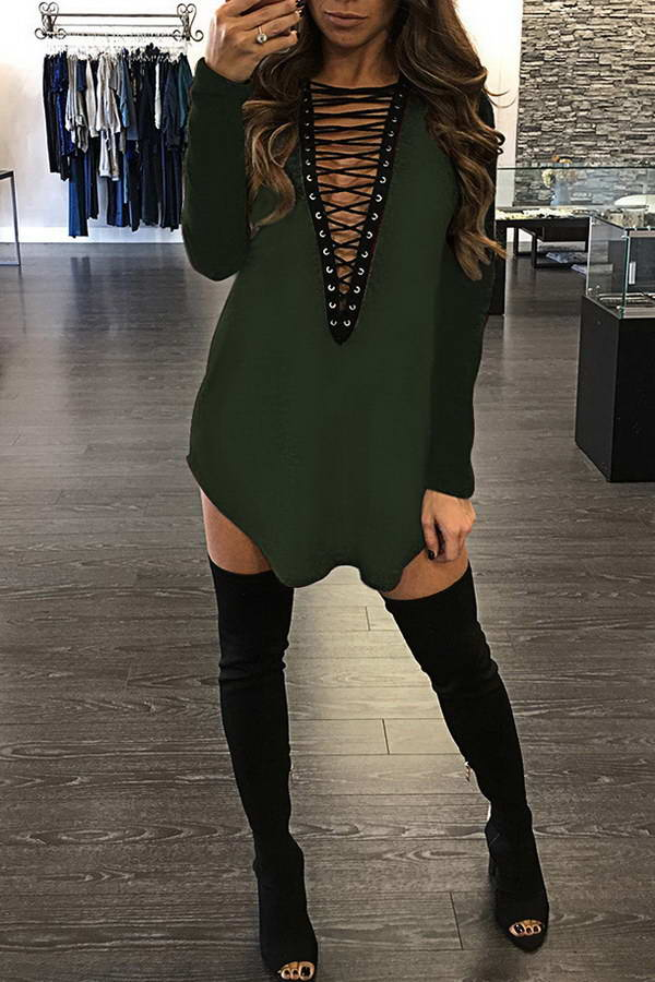 Lace Up Front Dress