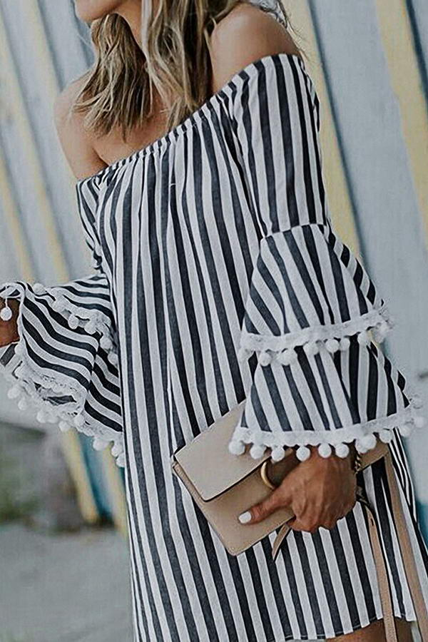 Stripe Pom Pom Trim Dress
