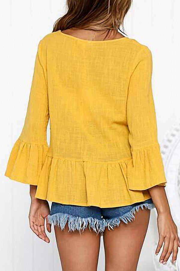 Yellow Drop Waist Top