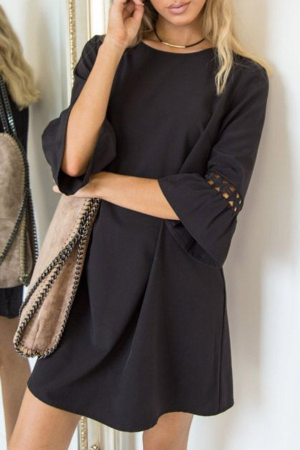 3/4 Flounce Sleeve Dress