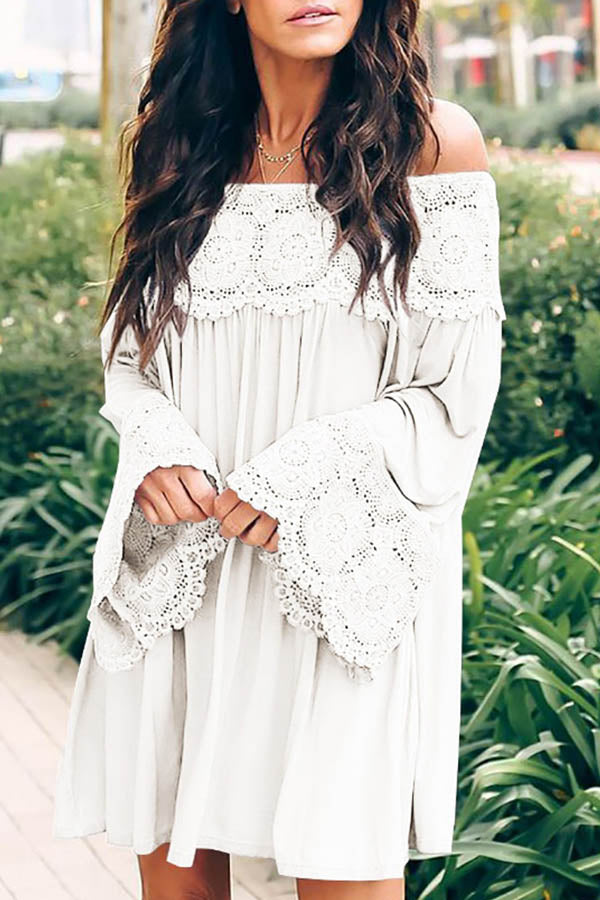 Trumpet Sleeve Boho Dress