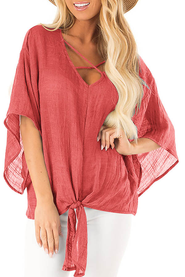 Batwing Knotted Blouse