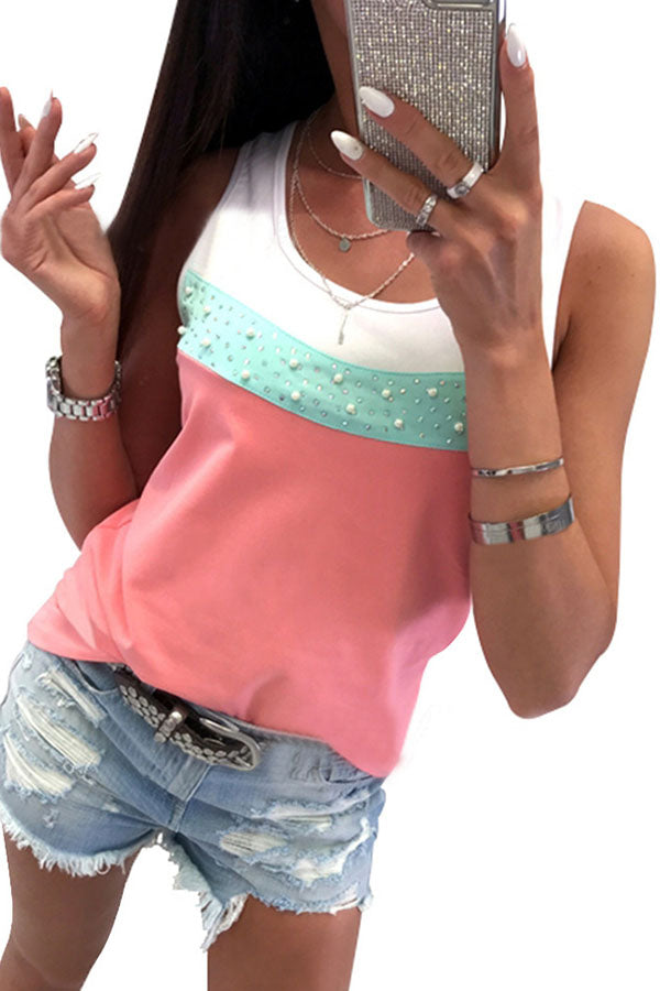 Rhinestones Color Matching T-shirt