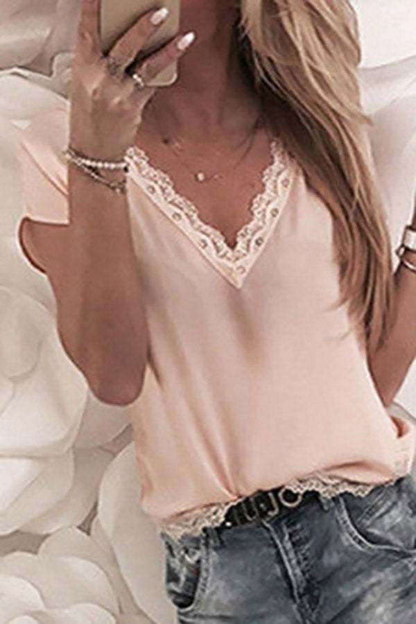 Hem Lace And Short Sleeves T-shirt Chiffon Shirt