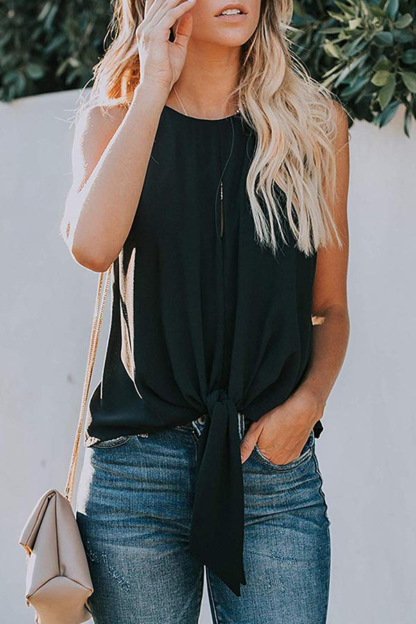 Solid Colour Pullover Sleeveless Top