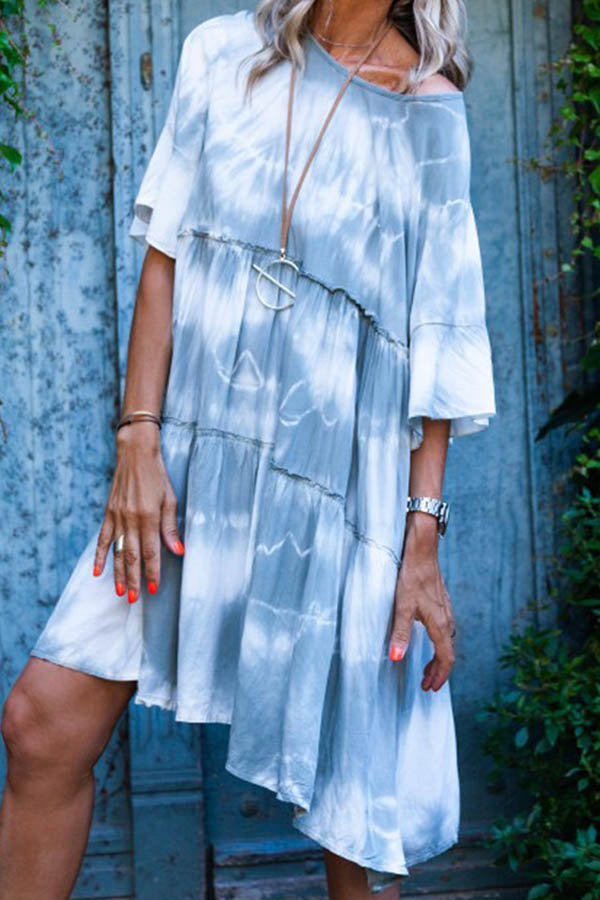 Round Collar Tie-Dyed Loose Dress