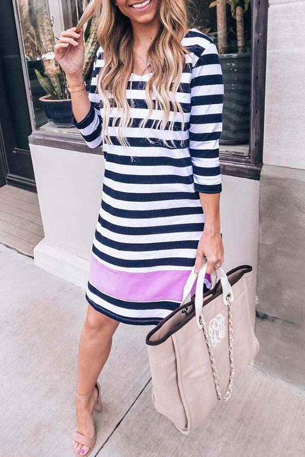 Round Collar Loose Striped Dress