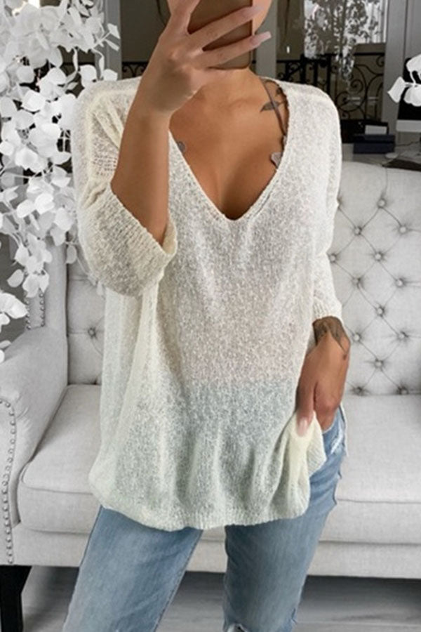 Solid Color V-Neck Long Sleeve Knitted Top