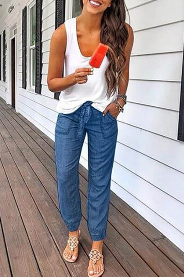 Straight Lace-Up Jeans