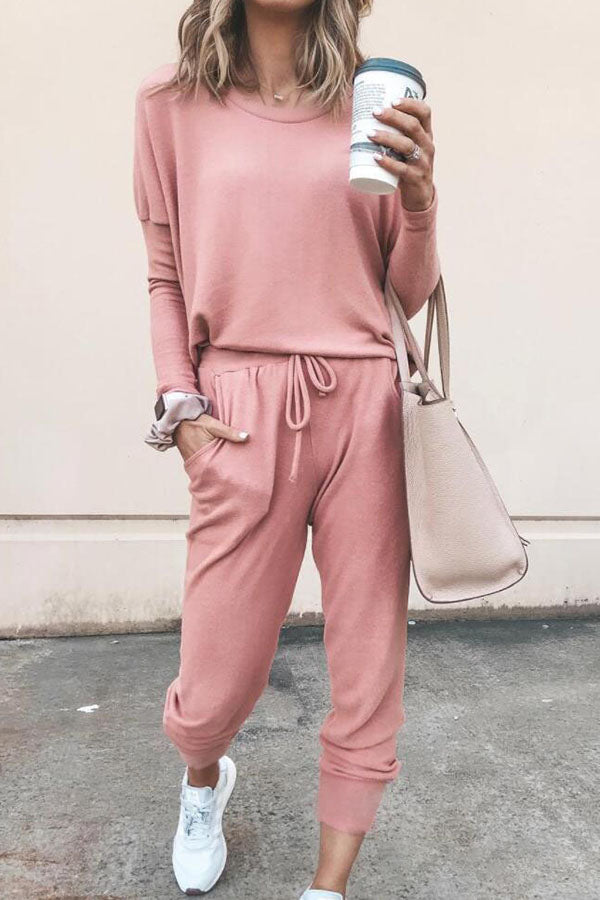 Round Collar Solid Color T-Shirt Trousers Suit