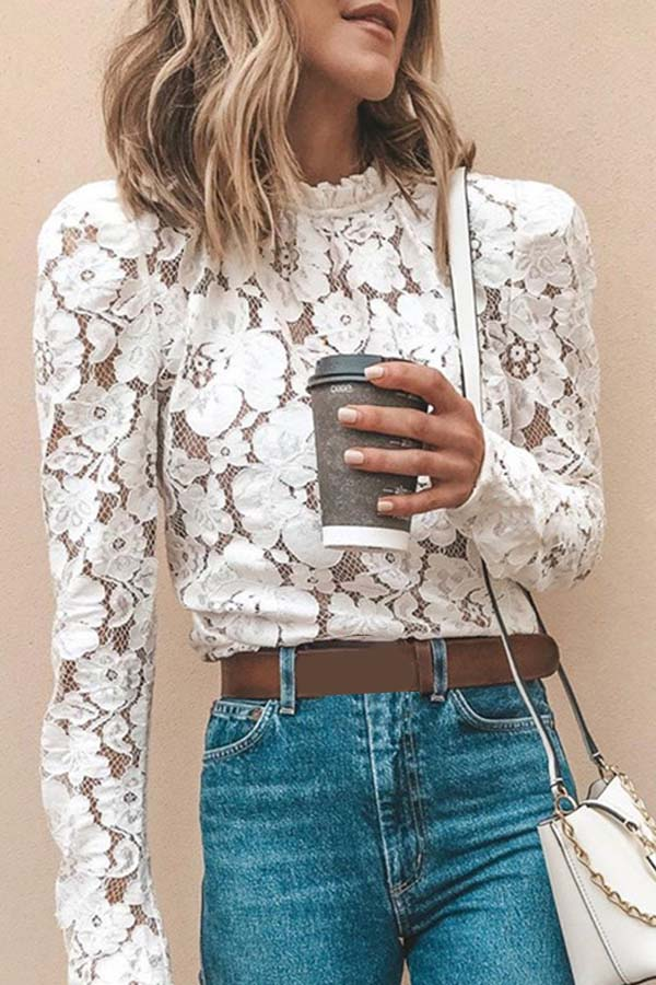 High Collar Long Sleeves Lace Top