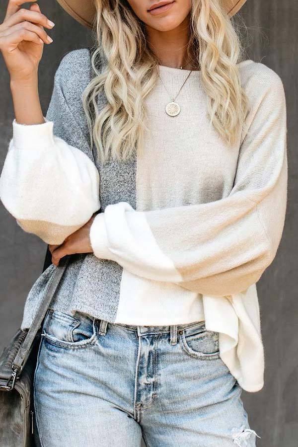 Splicing Knitted Sweater