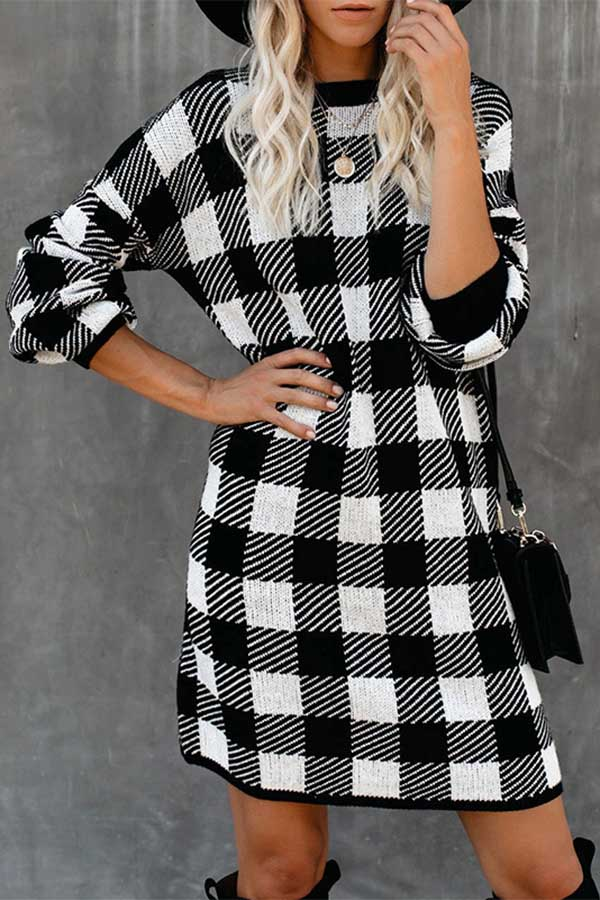 Color Collision Checked Long-Sleeved Dress