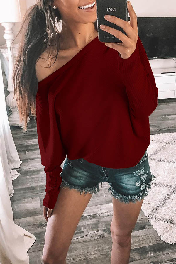 Solid Colour Off Shoulder Top