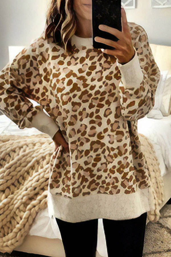 Leopard Round Collar Irregular Long-Sleeved Blouse