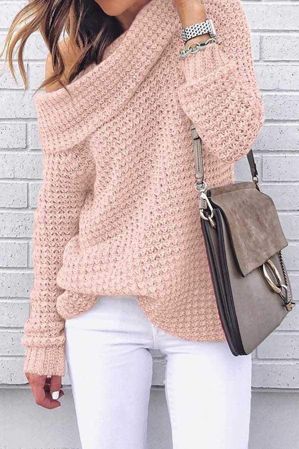 Solid Color High Collar Knitted Sweater