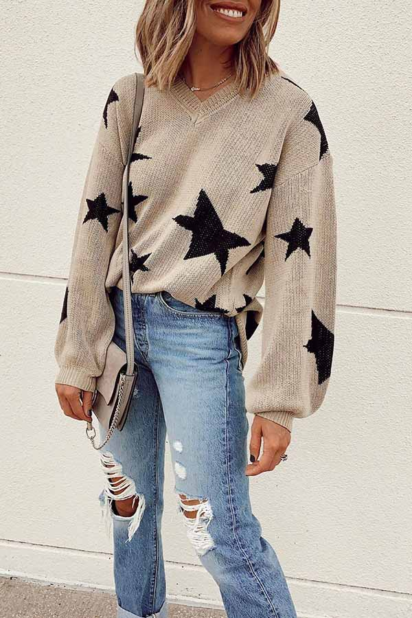 Star V-Neck Knitted Sweater