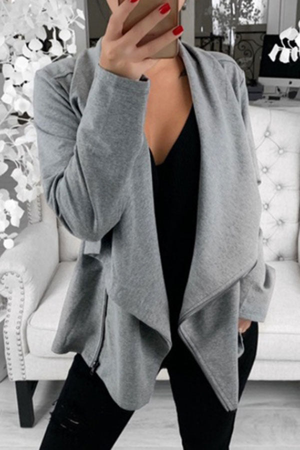Solid Color Lapel Zipper Coat