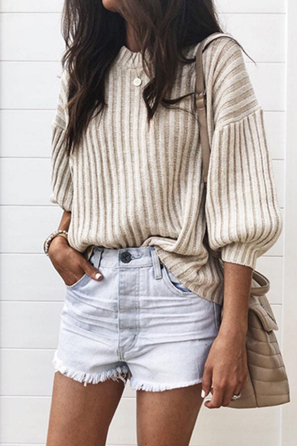Solid Color Striped Knitted Top