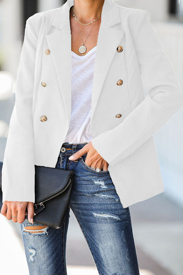 Solid Color Fit Button Coat