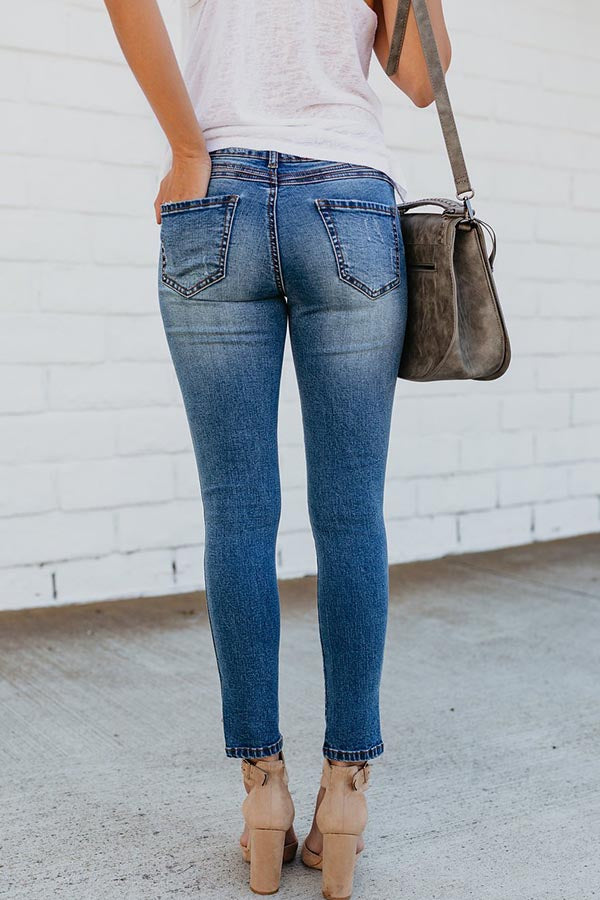 Hole Open Fork Jeans