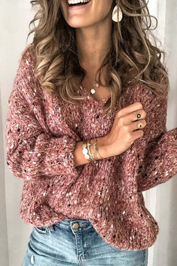 Printed V-Neck Knitted Sweater