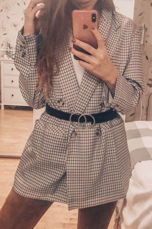 Lapel Long Sleeve Plaid Coat