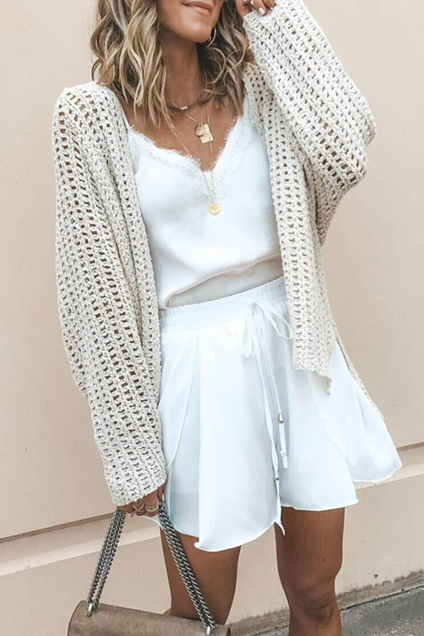 Hollow Mesh Split Perspective Cardigan
