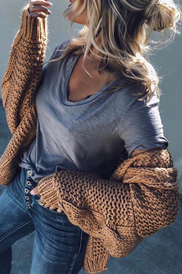 Loose Long Sleeve Twist Knitted Cardigan