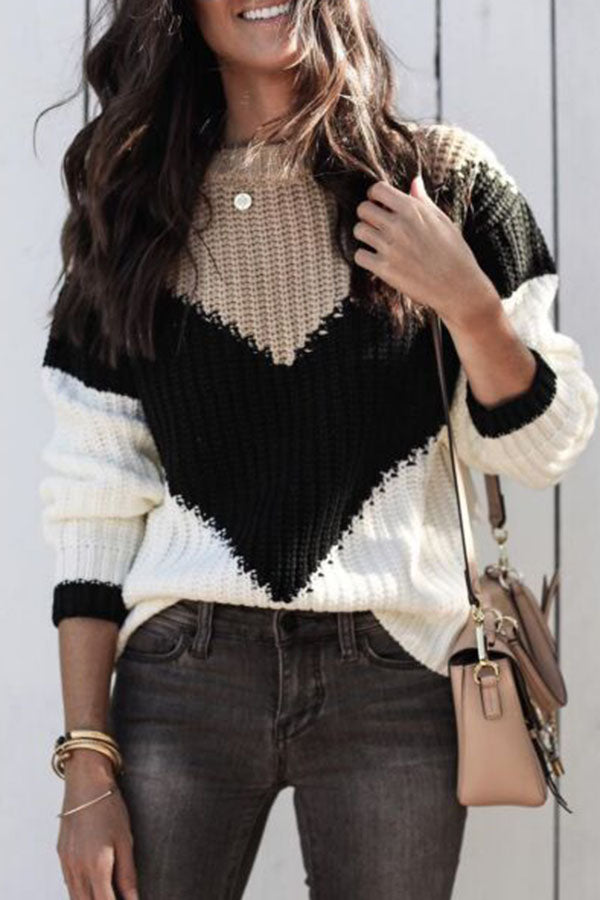 Collision Color Patchwork Sweater
