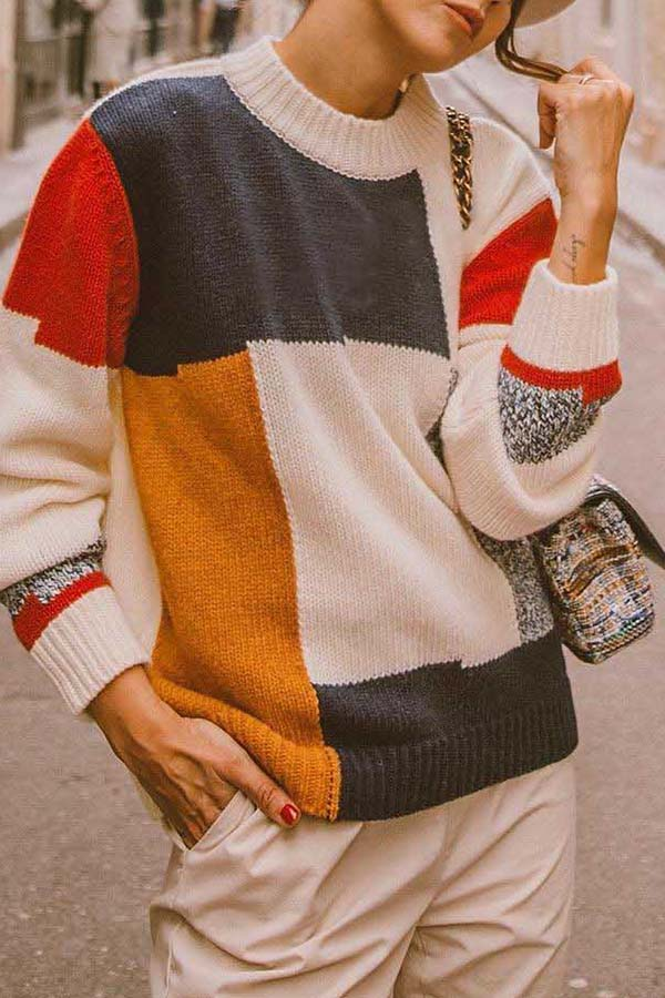Patchwork Pullover Sweater