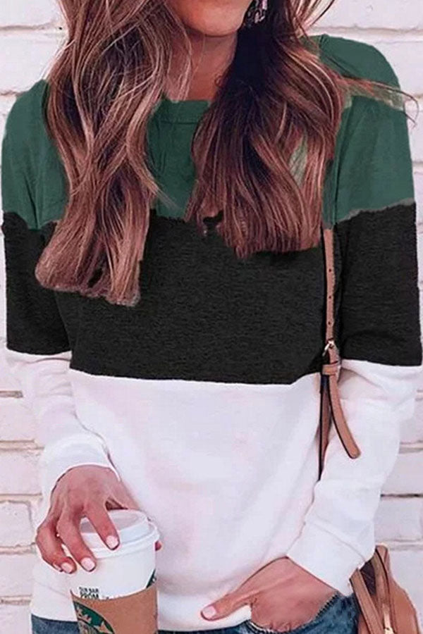 Collision Color Round Collar Top