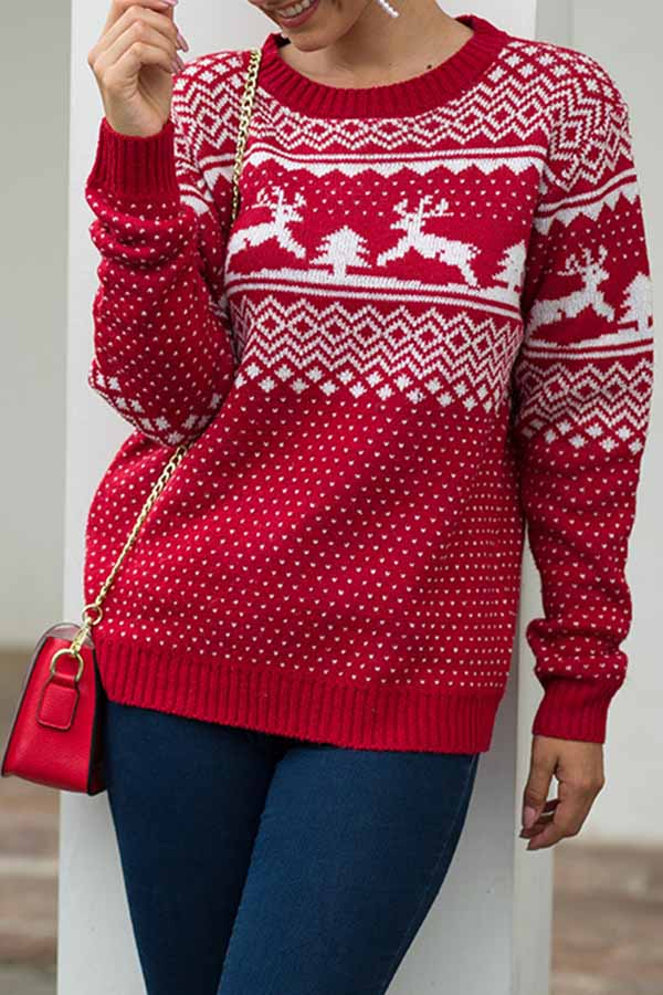 Round Neck Long Sleeve Pullover Sweater