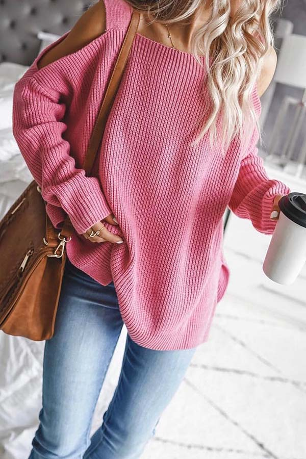 Long Sleeve Off Shoulder Sweater