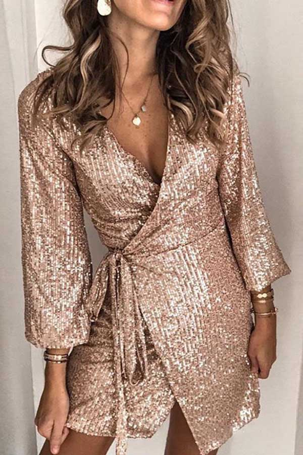 Sequin Long Sleeve Lace Up Dress