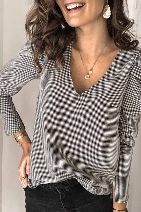 Bubble Sleeve V-Neck Top