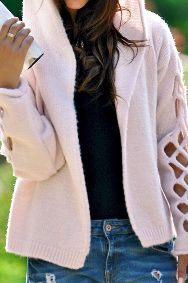 Hooded Hollow Solid Color Cardigan