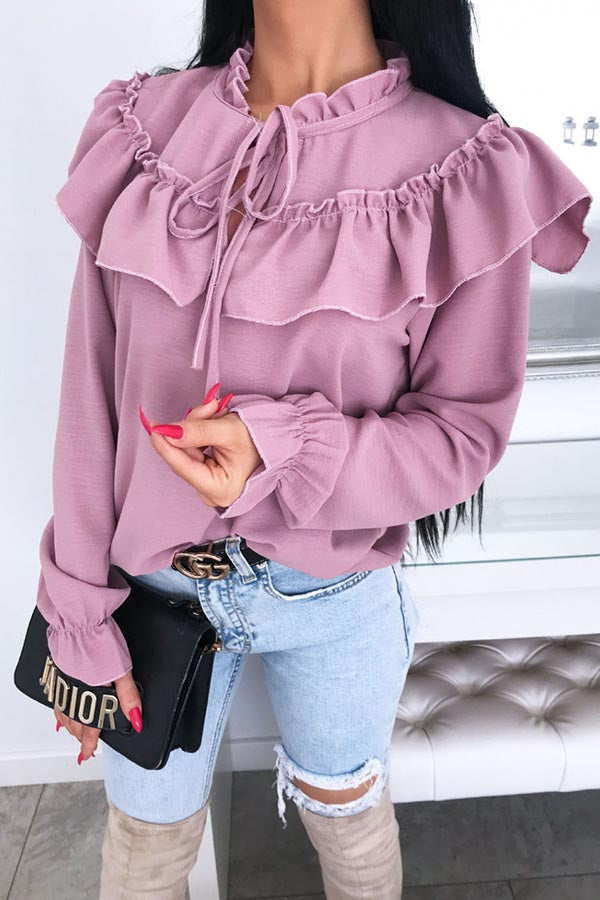 Ruffle Lace Up Bow Chiffon Shirt