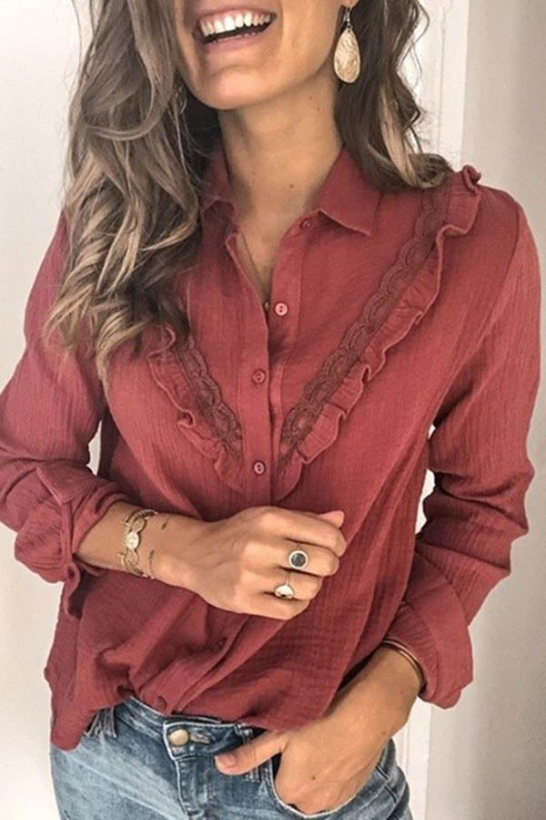 Solid Color Lace Shirt