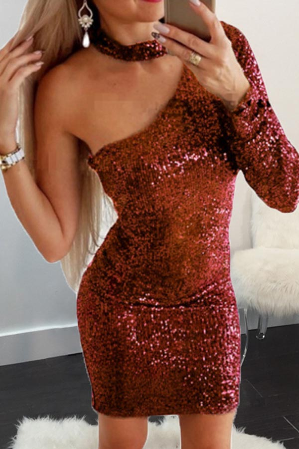 Solid Color One Sleeve Sequin Splicing Dresss