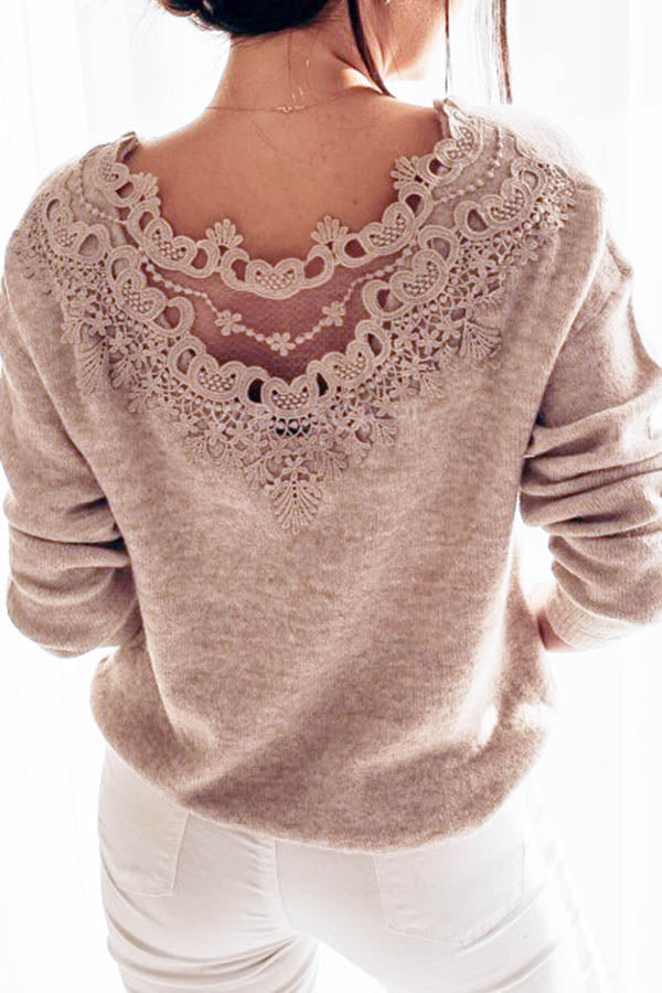 Solid Color Lace Round Neck Top
