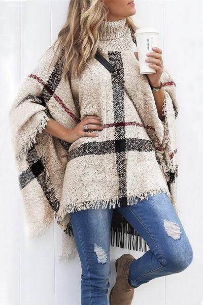 batwing-sleeve-polo-neck-multi-length-cozy-plaid-knit-poncho-cape