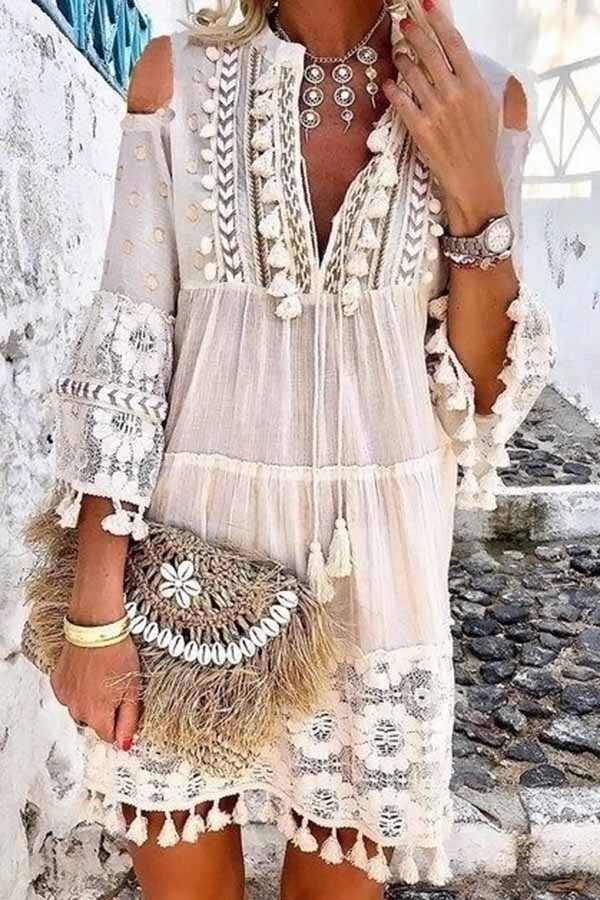 Lace Fringed Mid-Length Dress